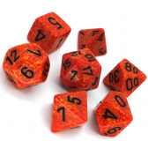 Orange & Yellow 'Fire' Speckled Polyhedral 7 Dice Set